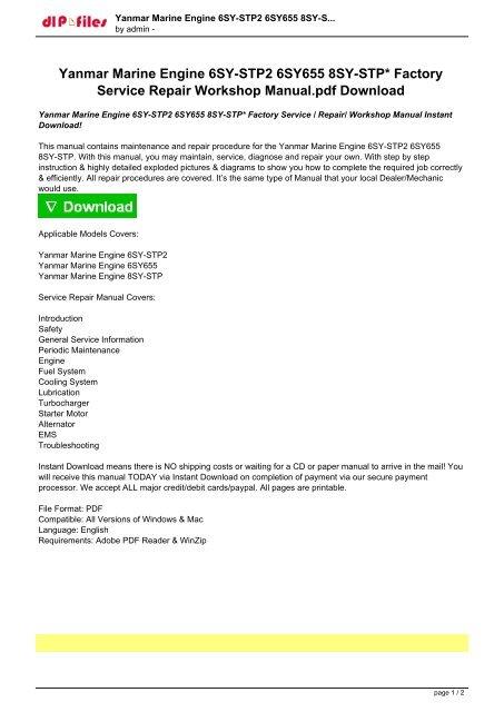 Yanmar Marine Engine 6SY-STP2 6SY655 8SY-STP Factory Service