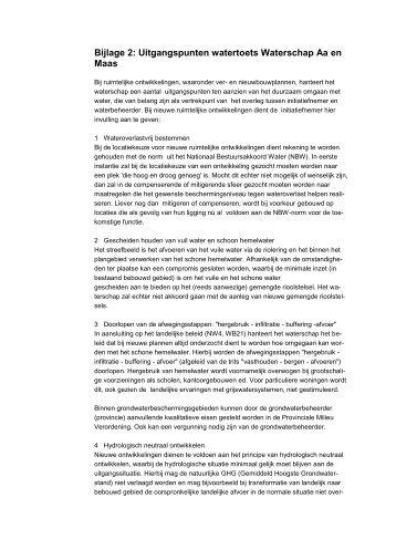 Bijlage 2: Uitgangspunten watertoets Waterschap Aa en Maas