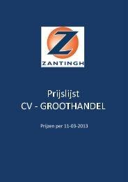 CV prijslijst 2013 - Zantingh