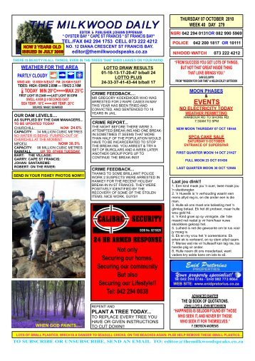 7 October 2010 - Garden Route Properties for sale