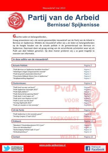 Nieuwsbrief mei 2013 - PvdA Spijkenisse