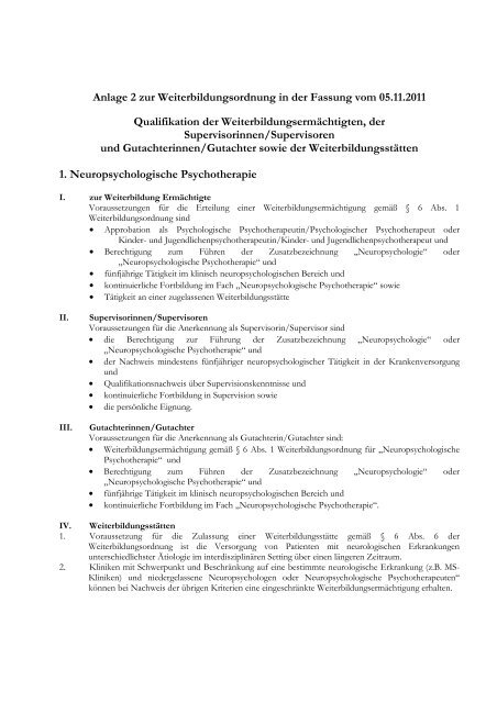 Anlage 2 zur Weiterbildungsordnung in der Fassung vom 05.11 ...