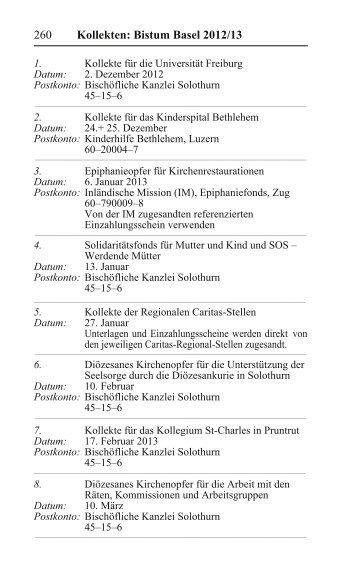Kollekten: Bistum Basel 2012/13 - Directserver.org