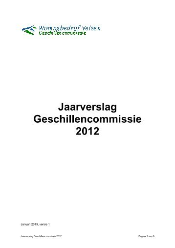 jaarverslag 2012 Geschillencommissie - Woningbedrijf Velsen