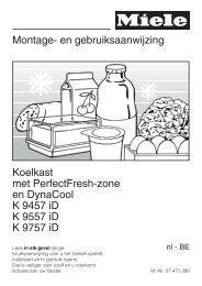Montage- en gebruiksaanwijzing Koelkast met ... - miele Miele