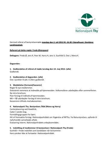 referat - Støtteforeningen Nationalpark Thy