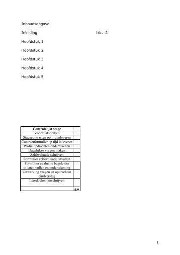 Inhoudsopgave Inleiding blz. 2 Hoofdstuk 1 Hoofdstuk 2 Hoofdstuk 3 ...