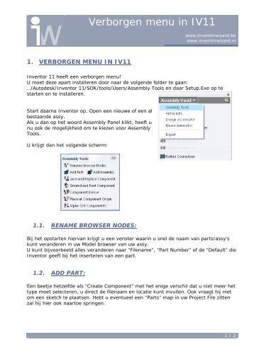 7.9 Verborgen menu in Inventor 11! - Autodesk Inventor Wizard