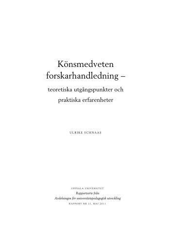 Könsmedveten forskarhandledning – teoretiska utgångspunkter och ...