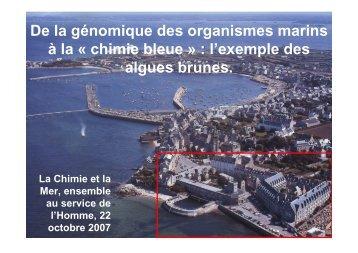 De la génomique des organismes marins à la chimie bleue ...