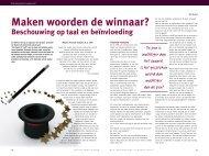 Maken woorden de winnaar? - Nederlandse Vereniging voor NLP