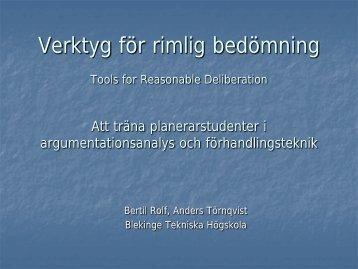 Tools for Reasonable Deliberation - MiSt-programmet