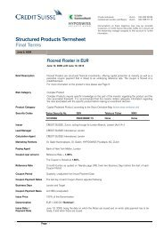 Structured Products Termsheet Final Terms