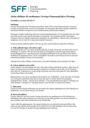 Etiska riktlinjer för medlemmar i Sveriges Finansanalytikers Förening