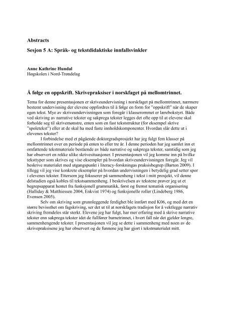 Abstracts Sesjon 5 A: Språk- og tekstdidaktiske innfallsvinkler Å ...