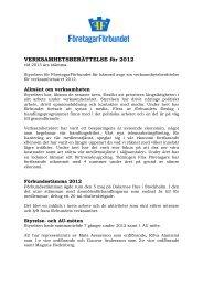 VERKSAMHETSBERÄTTELSE för 2012 - Företagarförbundet