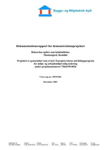Dokumentationsrapport for demonstrationsprojektet Bygge- og ...