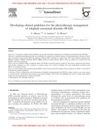 Developing clinical guidelines for the physiotherapy management of ...