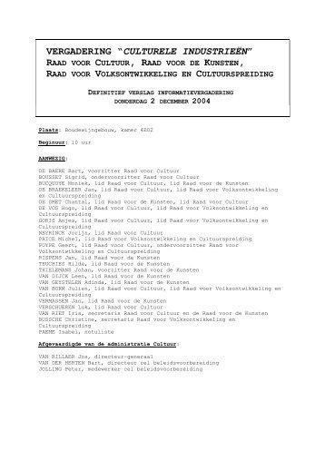 Verslag 2 december 2004 (PDF) - Cultuur, Jeugd, Sport en Media