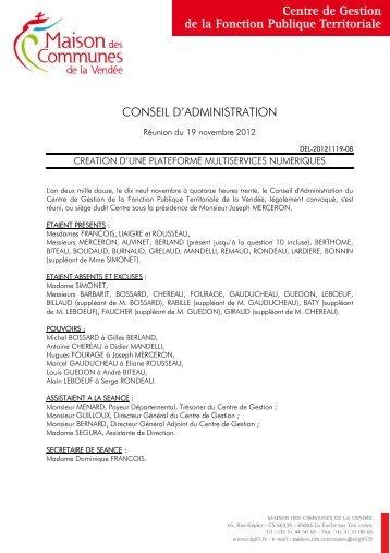 Délibération du 19 novembre 2012 - Maison des Communes de la ...