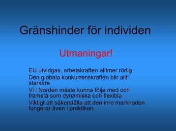 Gränshinder för individen - Interreg Sverige Norge
