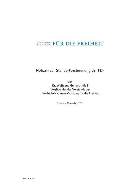 Notizen Zur Standortbestimmung Der Fdp Wolfgang Gerhardt