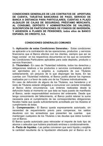 CONDICIONES GENERALES DE LOS CONTRATOS DE - Banesto