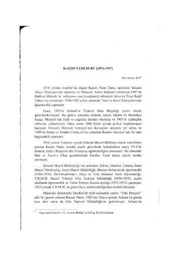 Kazım Nami Duru - Atatürk İlkeleri ve İnkılap Tarihi Enstitüsü