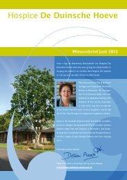 Nieuwsbrief juni 2012 - hospice De Duinsche Hoeve