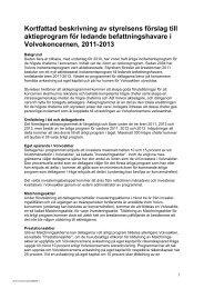 kortfattad beskrivning av styrelsens förslag, punkt 18 - Volvo Group