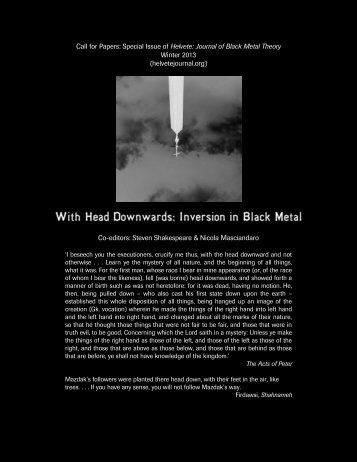 Call for Papers: Special Issue of Helvete, Journal of Black Metal ...