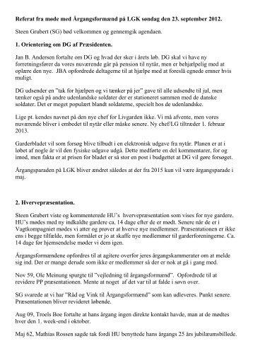 Referat møde LGK 2012 - De Danske Garderforeninger