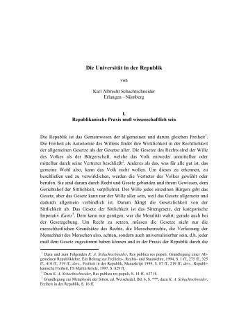 Die Universität in der Republik - Karl Albrecht Schachtschneider