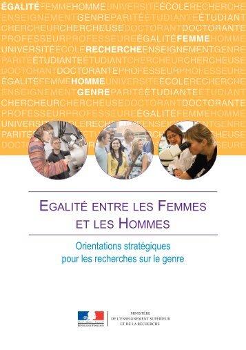 Orientations stratégiques pour les recherches sur le genre