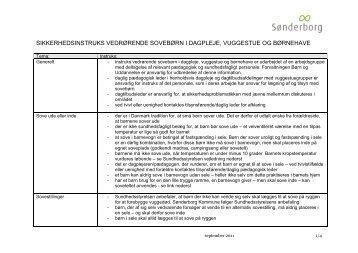 Sikkerhedsinstruks vedrørende sovebørn - Sønderborg Kommune