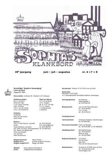 49e jaargang juni – juli – augustus nr. 6 +7 + 8 - Sophia's Vereeniging