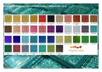 paleta kolorów mozaiki krystalicznej z brokatem lux b - Topmozaiki