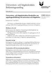 UHRFS 2013:11 Universitets- och högskolerådets föreskrifter om ...