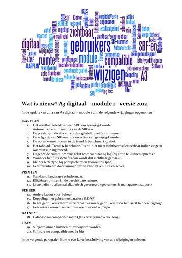 A3 digitaal - Wat is nieuw in versie 2012 & updateprocedure