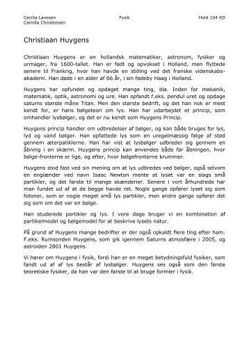 Christiaan Huygens - DE-siden