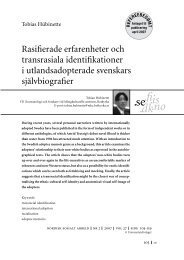 Utlandsadopterades självbiografier 2 - Tobias Hübinette