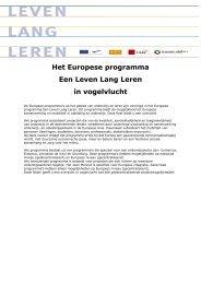Het Europese programma Een Leven Lang Leren in ... - Learn for Life