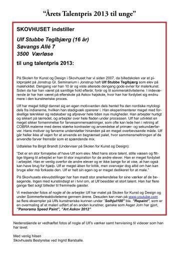 """""""Årets Talentpris 2013 til unge"""" - Skovhuset kunst"""
