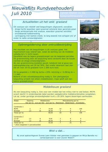 Nieuwsflits Rundveehouderij Juli 2010 - Schoon Water Aanpak