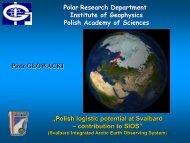 Piotr Glowacki's presentation - Forum of Arctic Research Operators