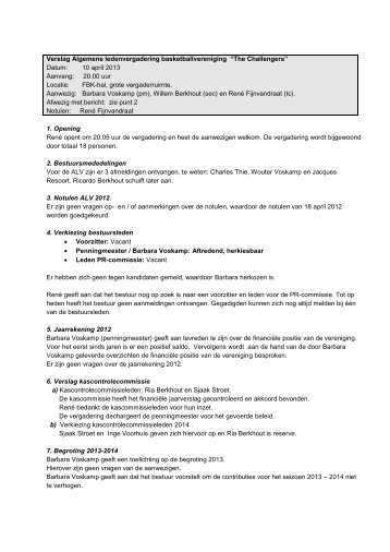 Verslag ALV 10 april 2013 - Challengers