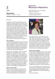 Nieuwsbrief, juni 2012 - Historisch Museum Haarlem