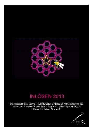 Informationsbroschyr angående split och inlösen 2013 (pdf) - HiQ