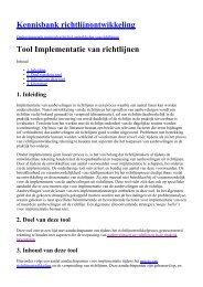 Kennisbank richtlijnontwikkeling Tool Implementatie van richtlijnen