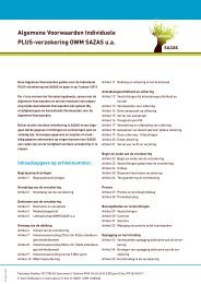 Algemene Voorwaarden Individuele PLUS-verzekering ... - Sazas.nl